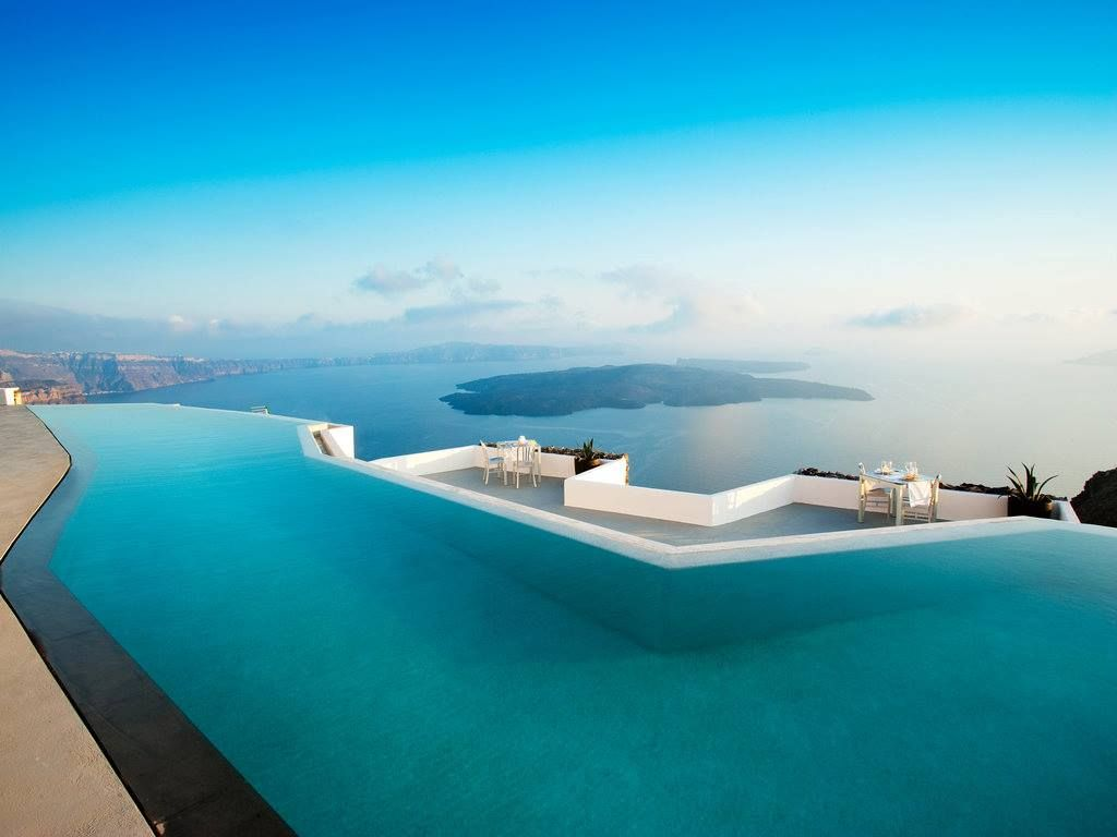 infinity pool santorini greece pools pinterest On hotels in santorini with infinity pools