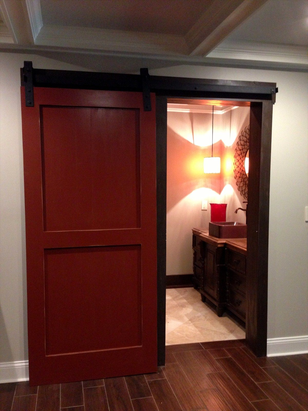 Bathroom barn door home ideas pinterest for Bathroom entrance doors