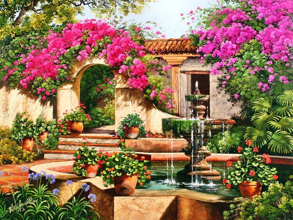 Outdoor scenes paintings pinterest - Jardines y paisajes ...
