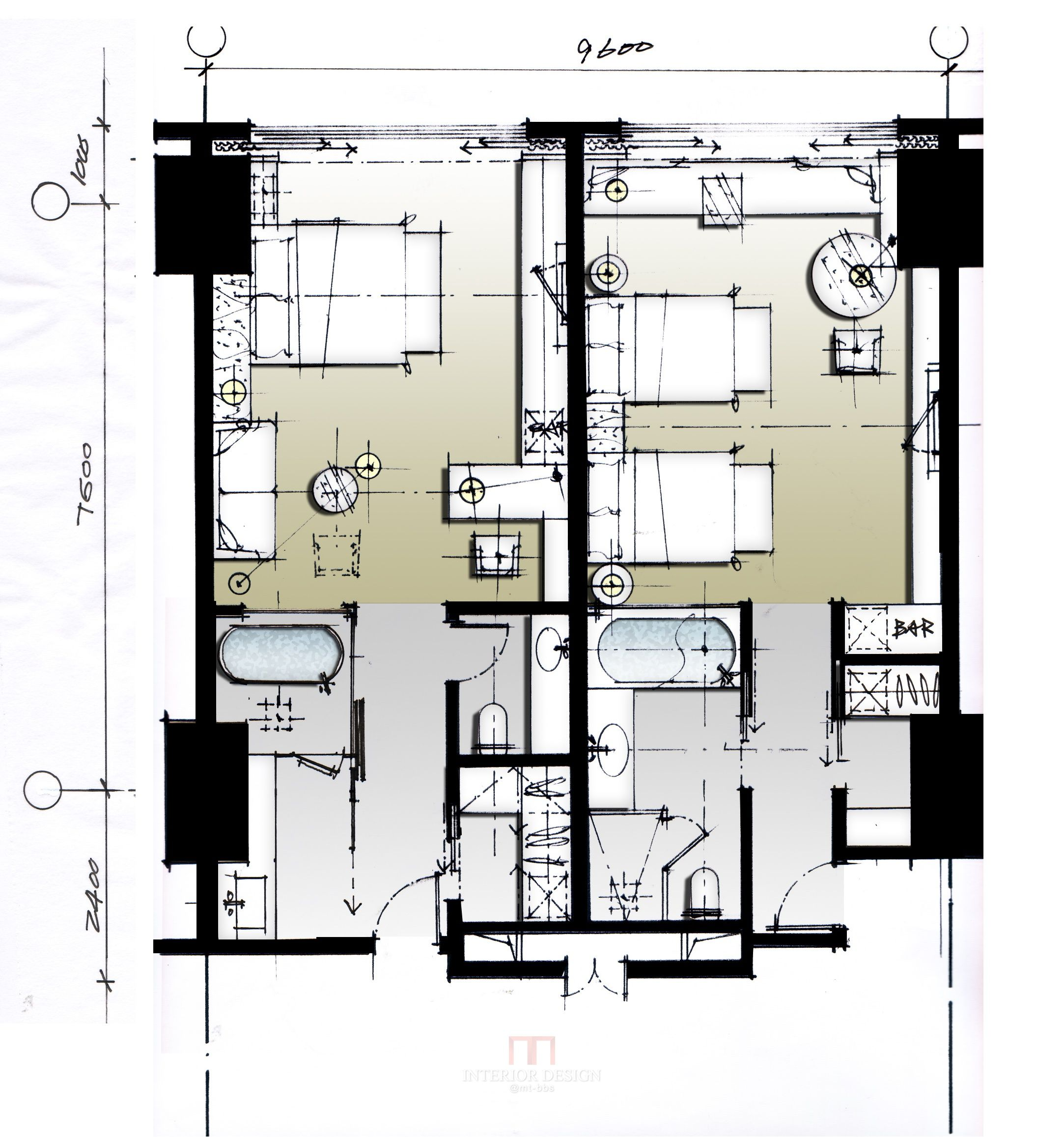 1000 images about interior design sketches on pinterest for Hotel plan design