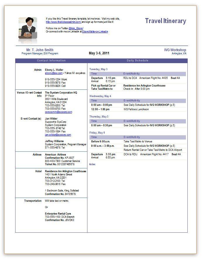 Itinerary Word Template – Printable Editable Blank Calendar 2017