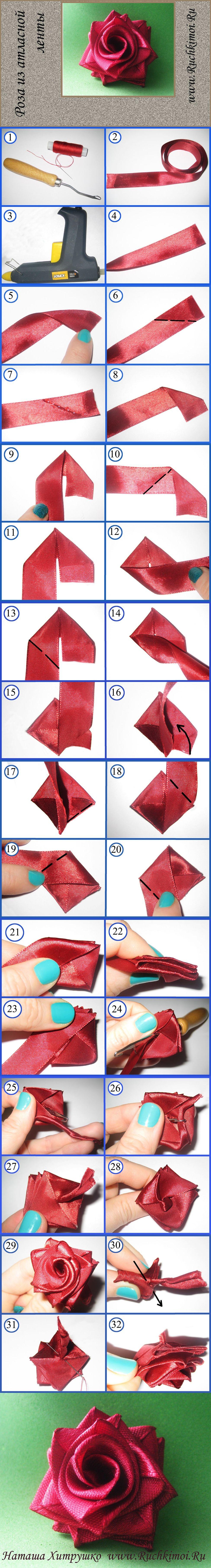 Как сделать маленькие розы Канзаши из узких атласных лент 40
