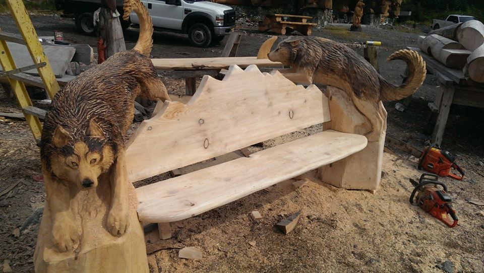 Wolf bench chainsaw carving pinterest