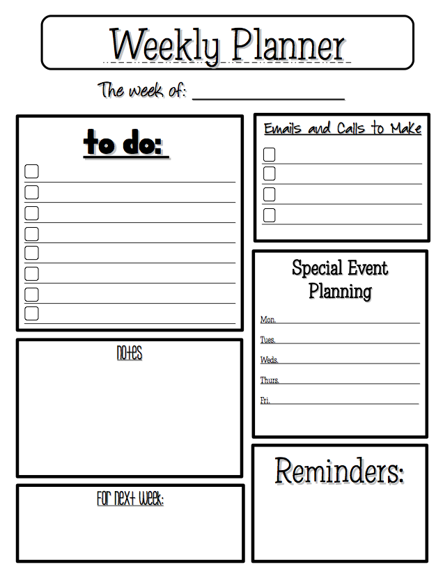 LESSON   U201cWeekly Planneru201d   Go To The Best Of Teacher  Day Planner Sheet