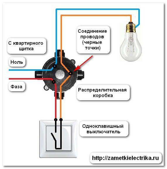 Схема расключения лампочка и выключатели