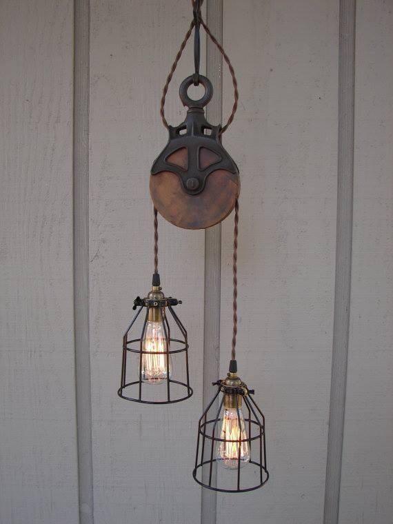 upcycled pulley light fixture lighting pinterest. Black Bedroom Furniture Sets. Home Design Ideas
