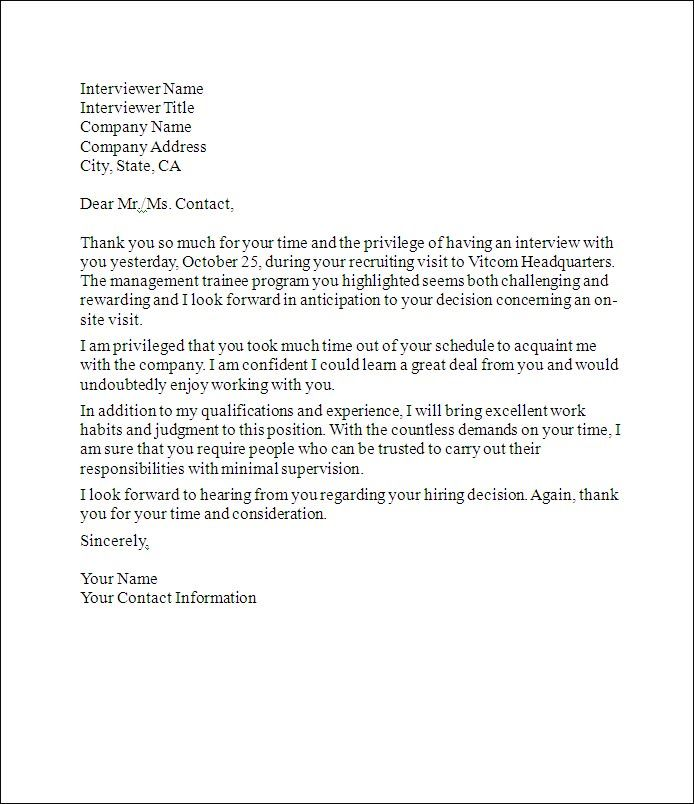 cover letter job interview sample