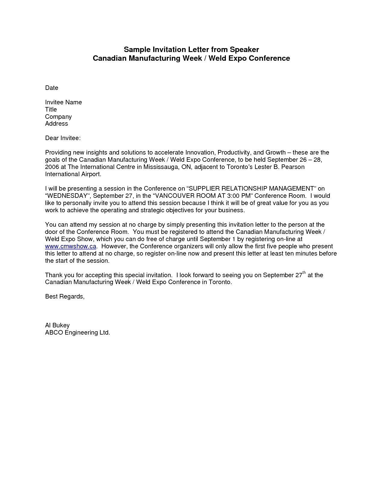 Sample Formal Invitation Letter For A Guest Speaker ...