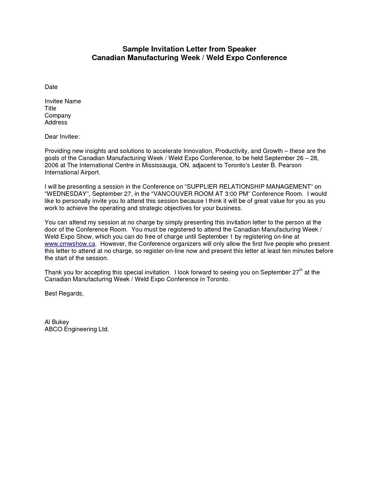 Formal invitation letter solarfm 7 sample business invitation letters sample templates stopboris Choice Image