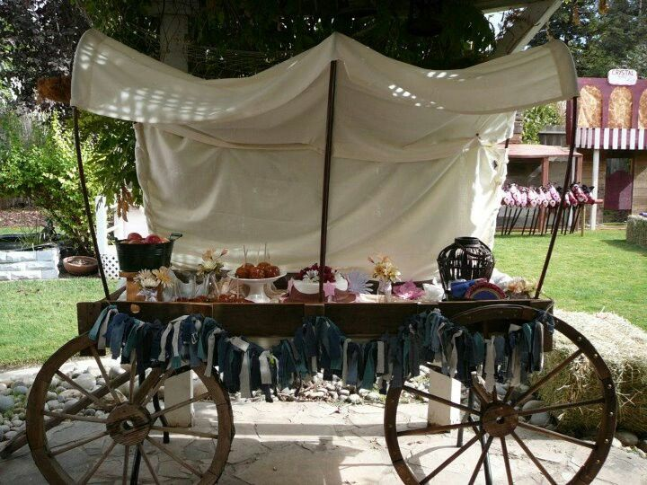 Covered Wagon Table For Western Party Cowboys And