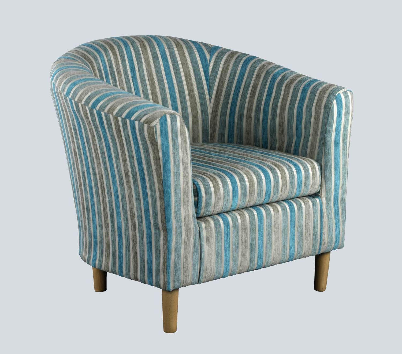 Teal striped tub chair