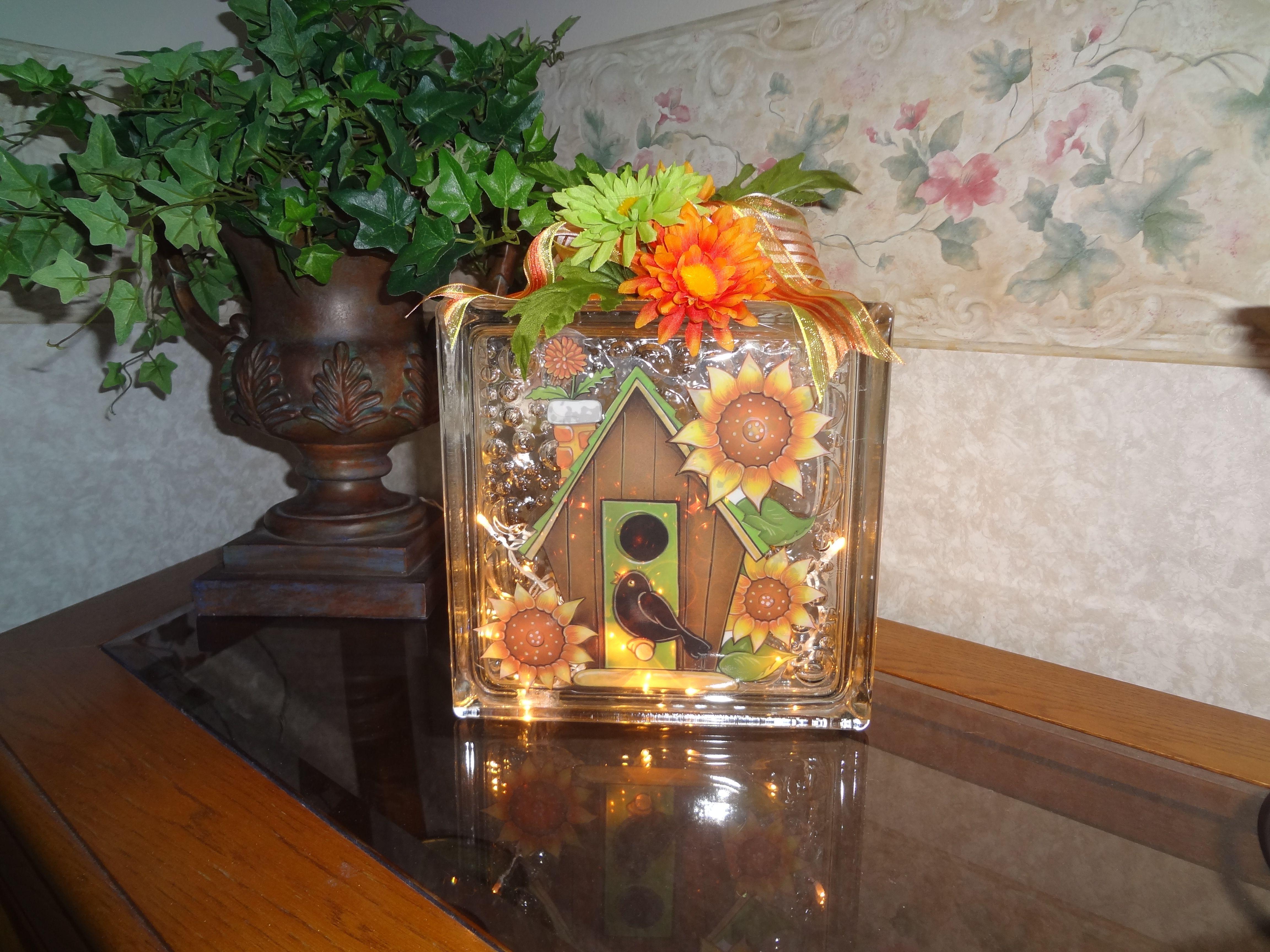 Glass Block Ideas : Sunflower glass block  Craft Ideas  Pinterest