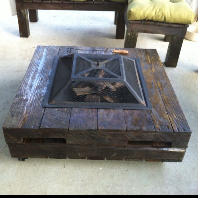 Pallet coffee table with fire pit pallet able pinterest for Pallet fire pit