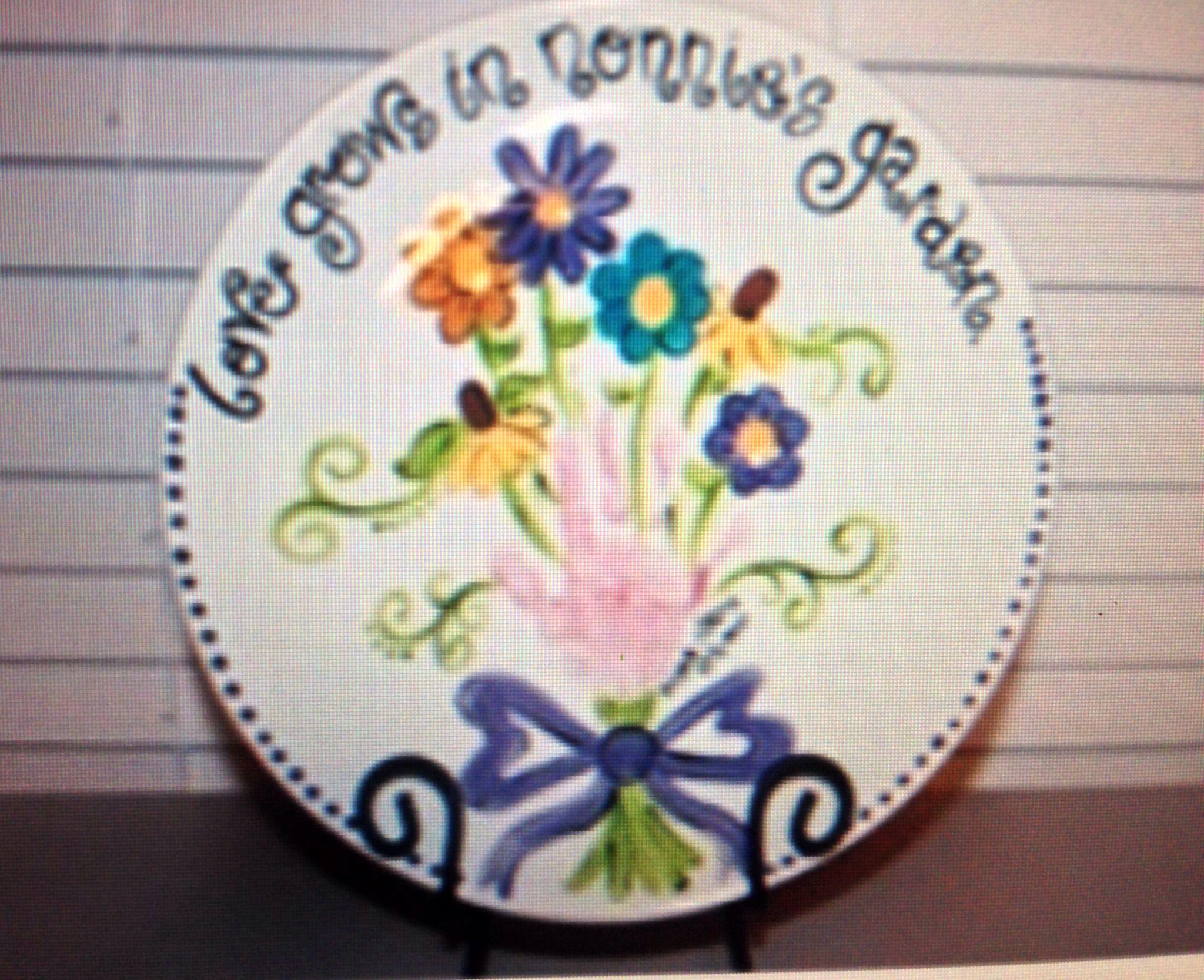 Handprint plate ceramics pinterest for Handprint ceramic plate ideas