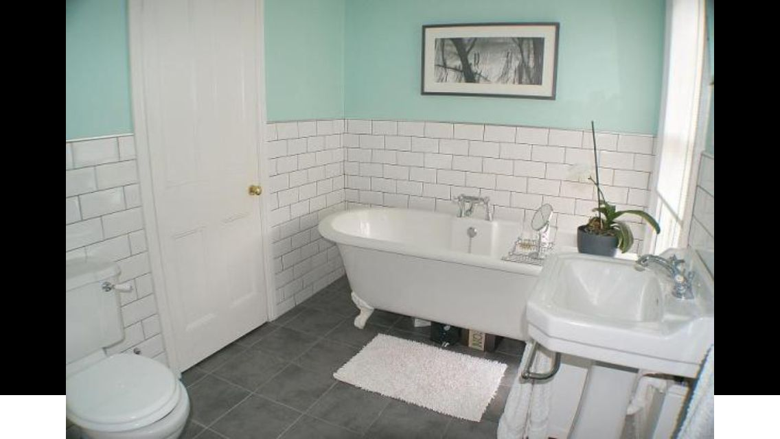Brick Tile Bathroom With Roll Top Bath Interiors Pinterest