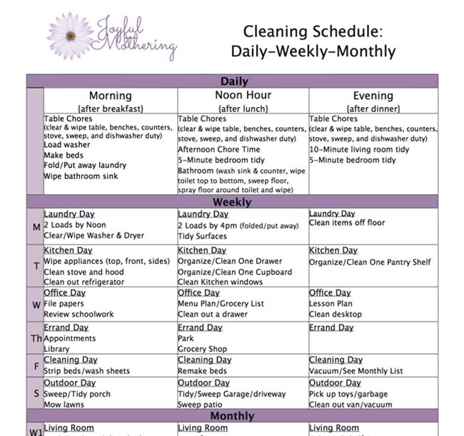 House Cleaning Schedule Daily Weekly Monthly – Printable Editable ...