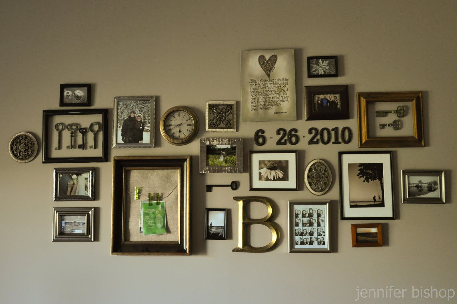 Wall arrangement idea for the home pinterest for Arrangement of photo frames on wall
