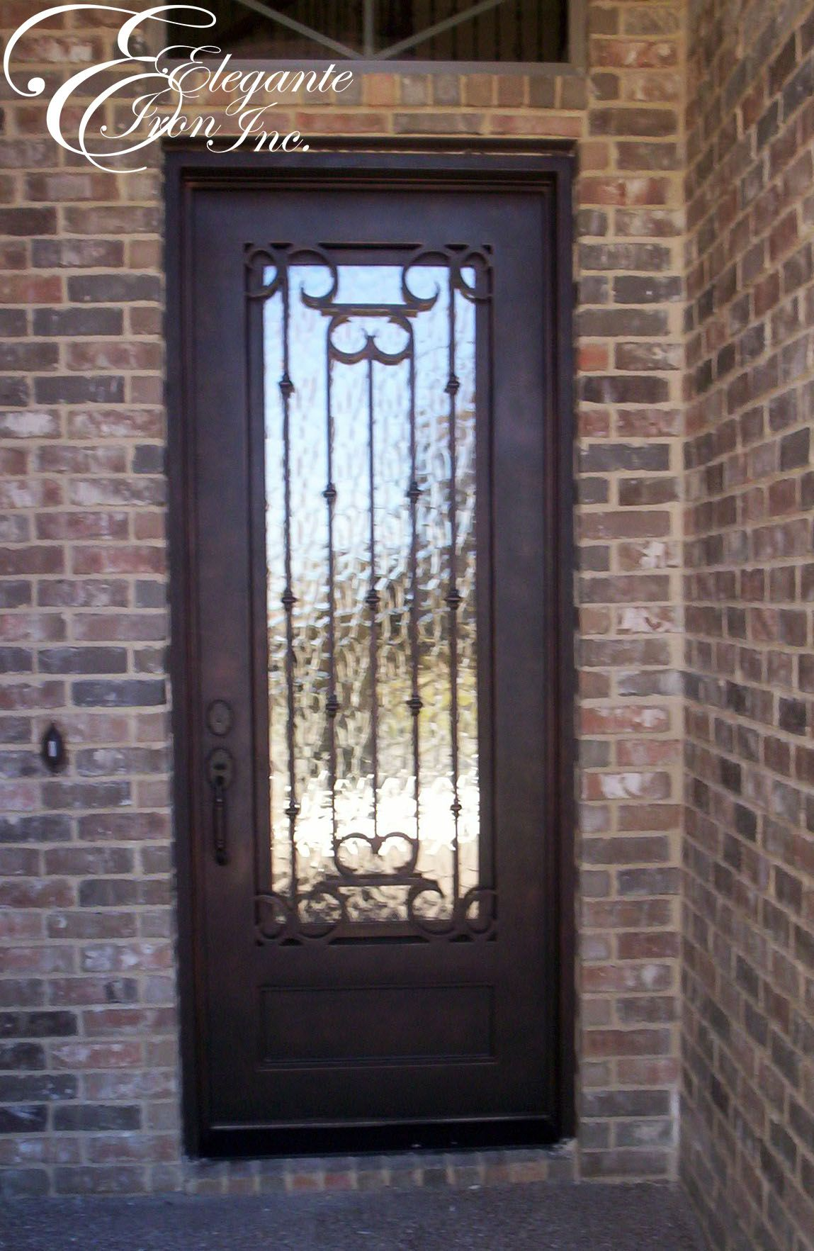 Custom wrought iron front door single doors pinterest for Custom front doors