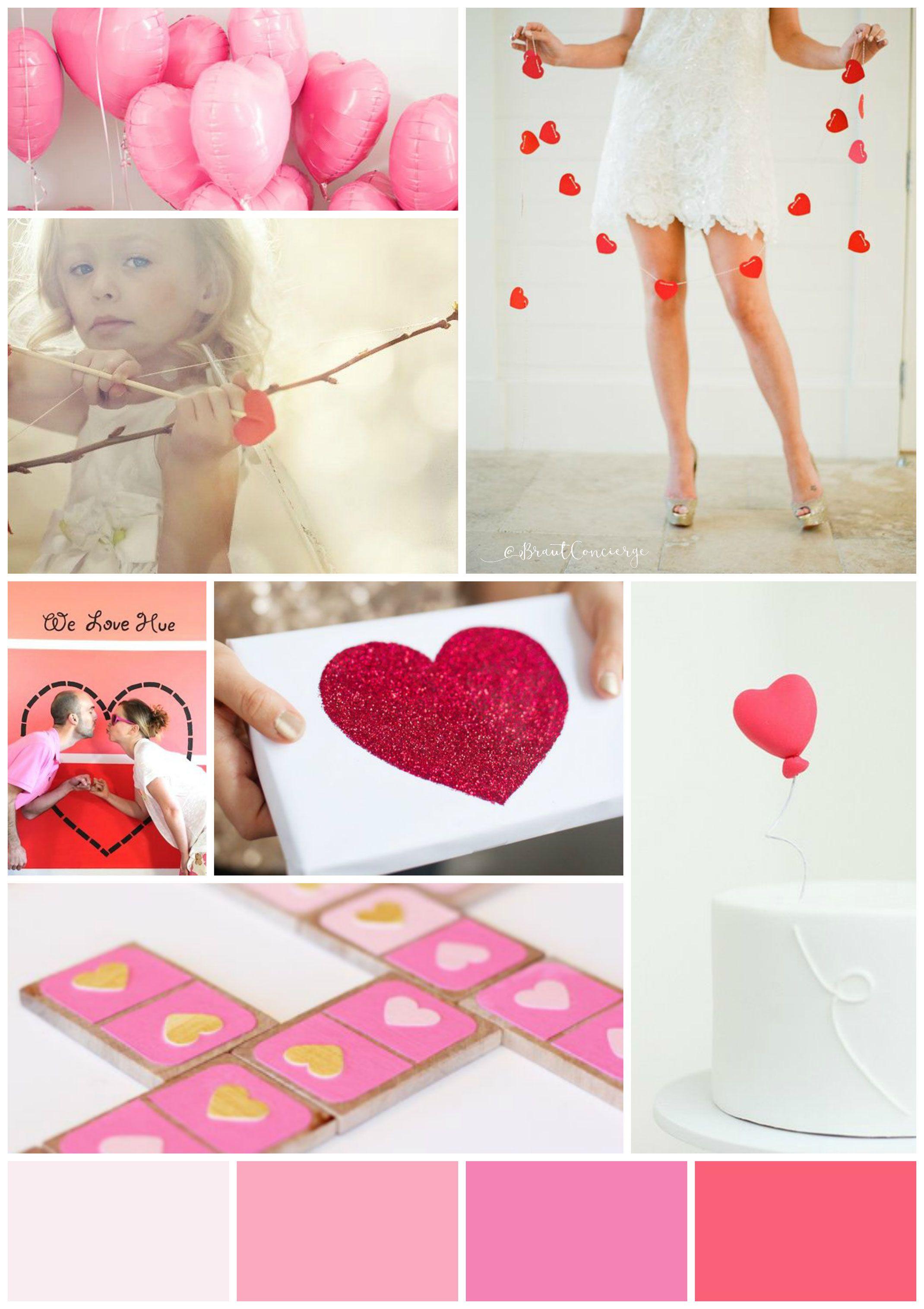 Stimmungsboard zum Valentinstag in rosa, pink und rot I Braut ...