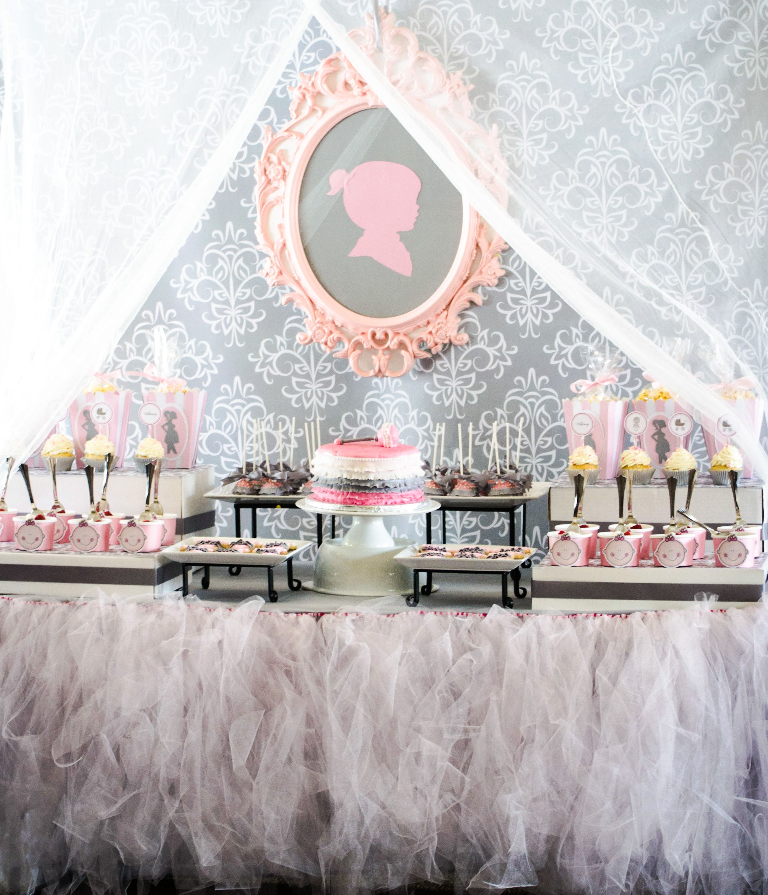 pink and grey baby shower treat table shower party ideas pinterest