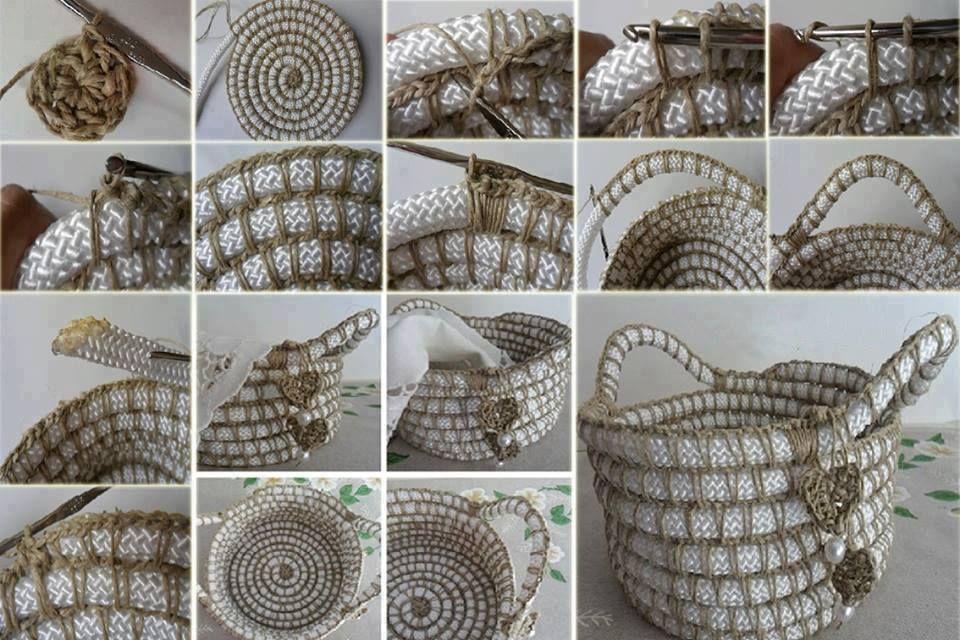 Crochet Rope Basket : basket using single crochet over rope crochet Pinterest