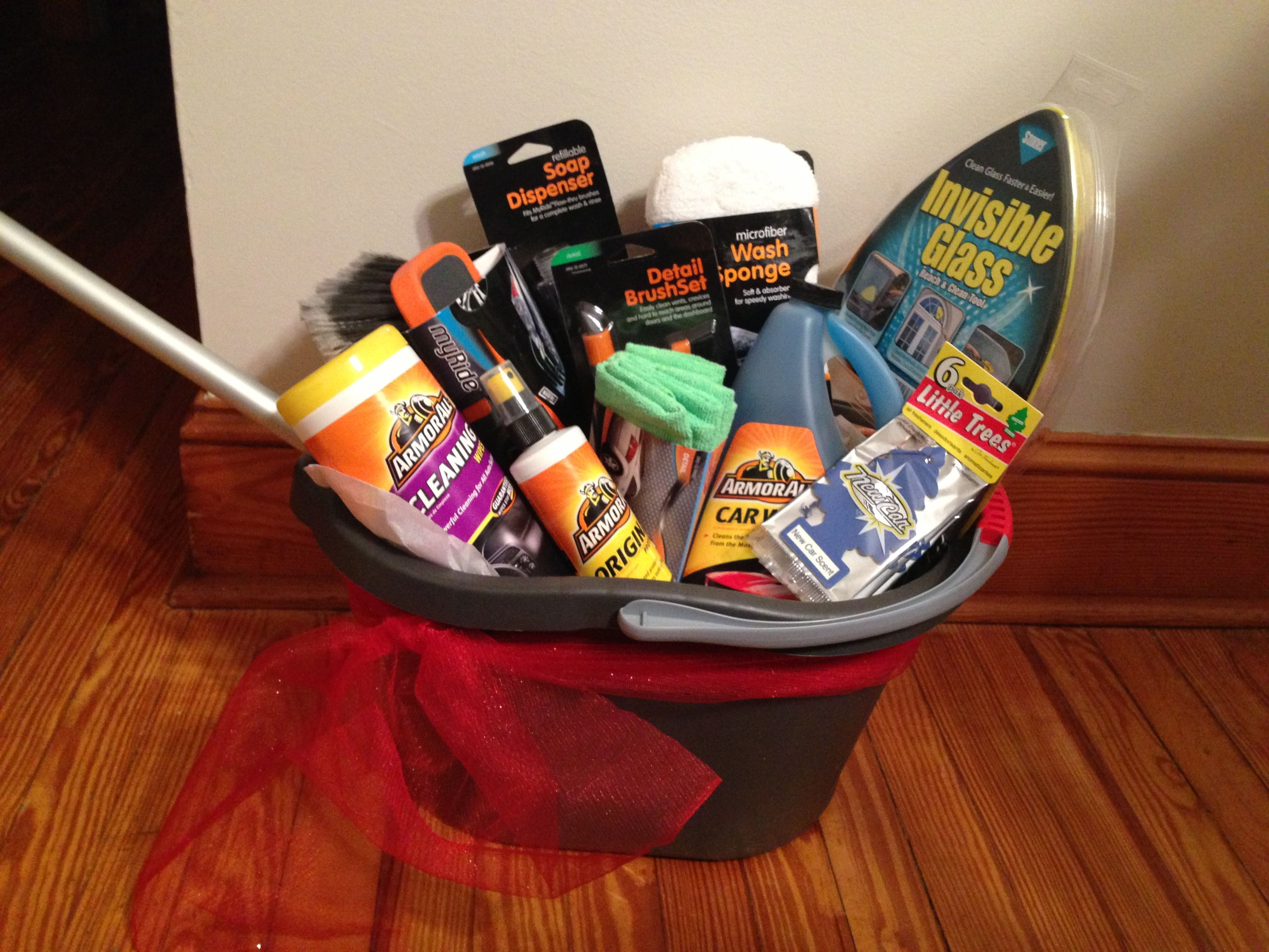 Car wash basket | .Gift Baskets and Diaper Cakes | Pinterest