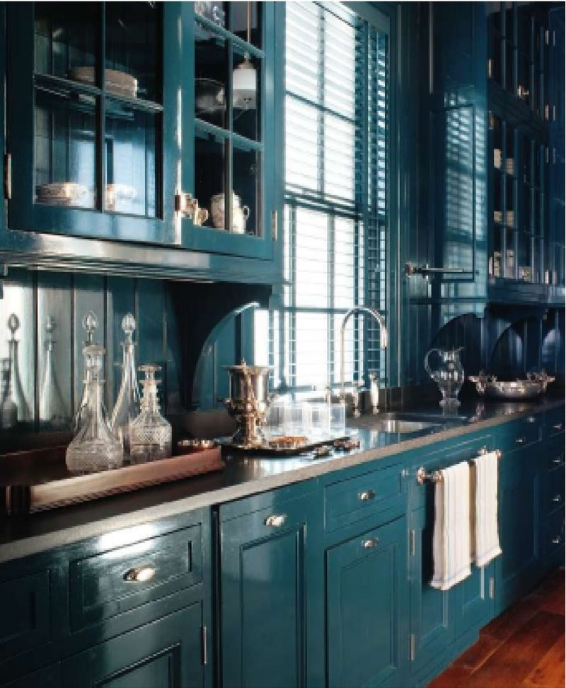 bold dark teal kitchen cabinets for the home pinterest