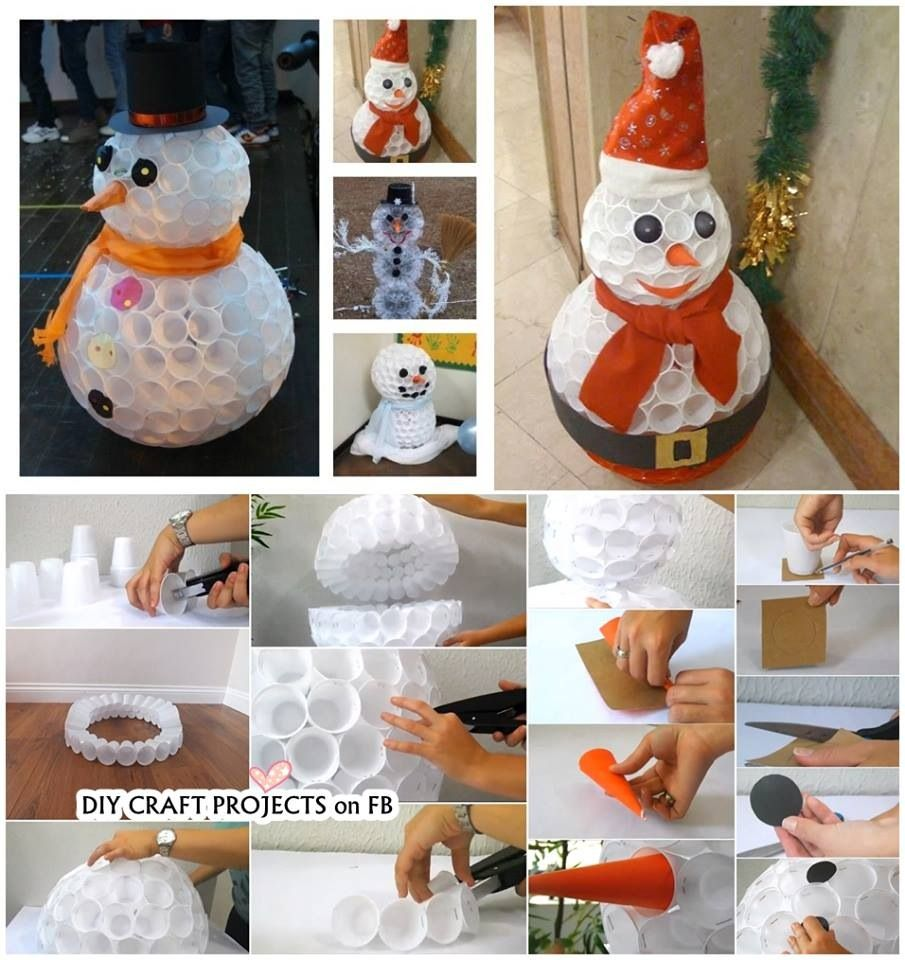 diy snowmen out of plastic cups diy christmas proyects