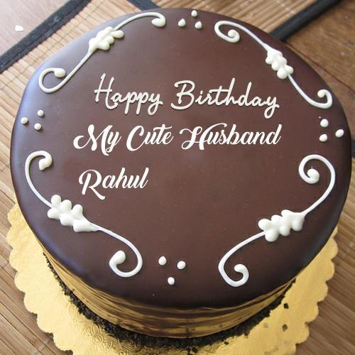 Husband Name Print Beautiful Chocolate Birthday Cake Pics Heart