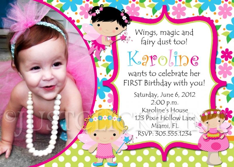 Sample invitation card for first birthday party invitationswedd fairy birthday invitations invitation card sample invitations girl first birthday stopboris Gallery