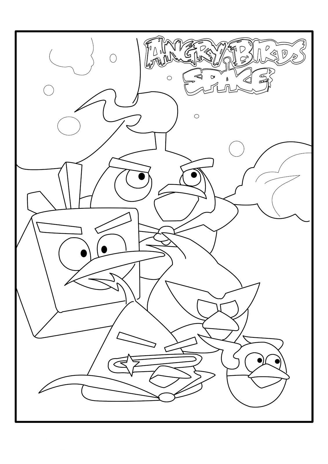 Angry bird space coloring pages for kids free