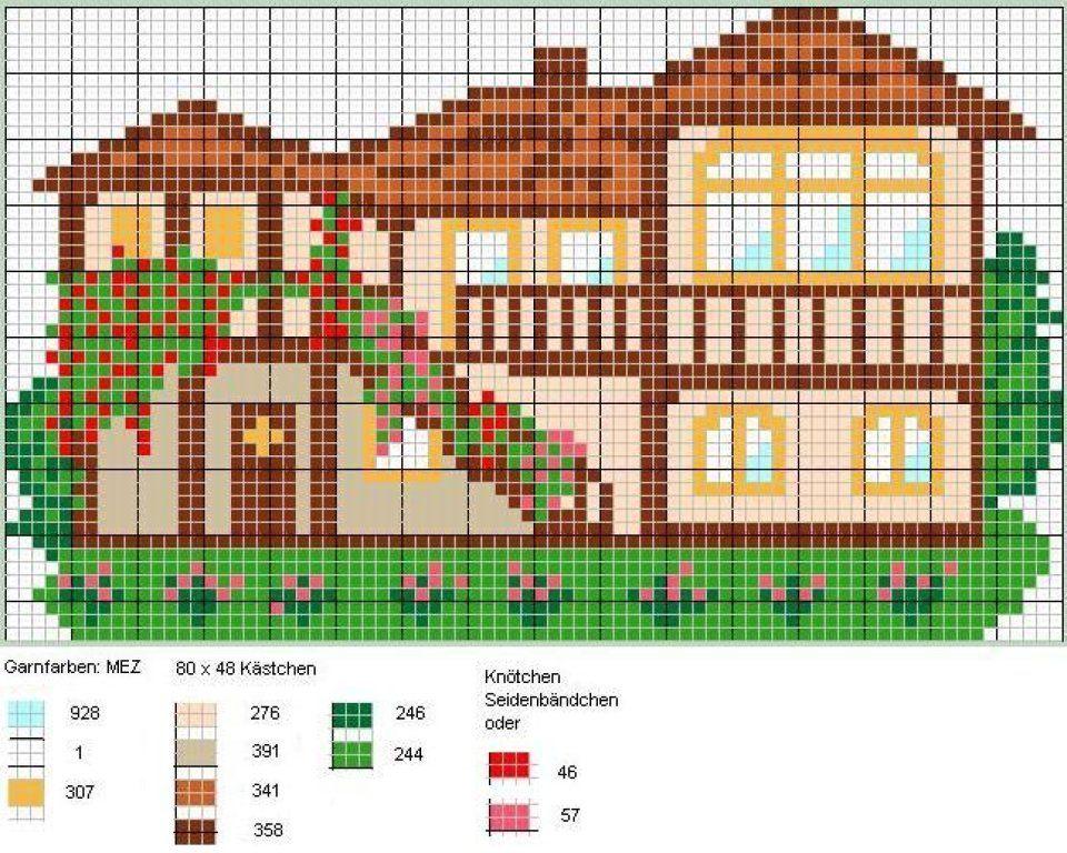 Схемы вышивки цветные домики 11