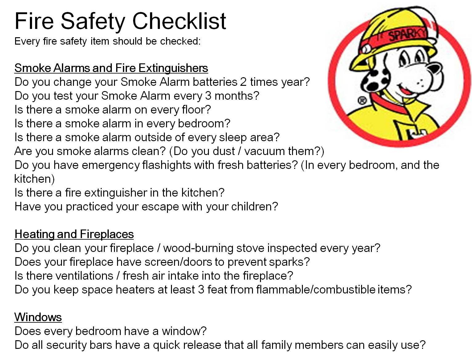 Fire Safety Checklist 1st Safety Pinterest