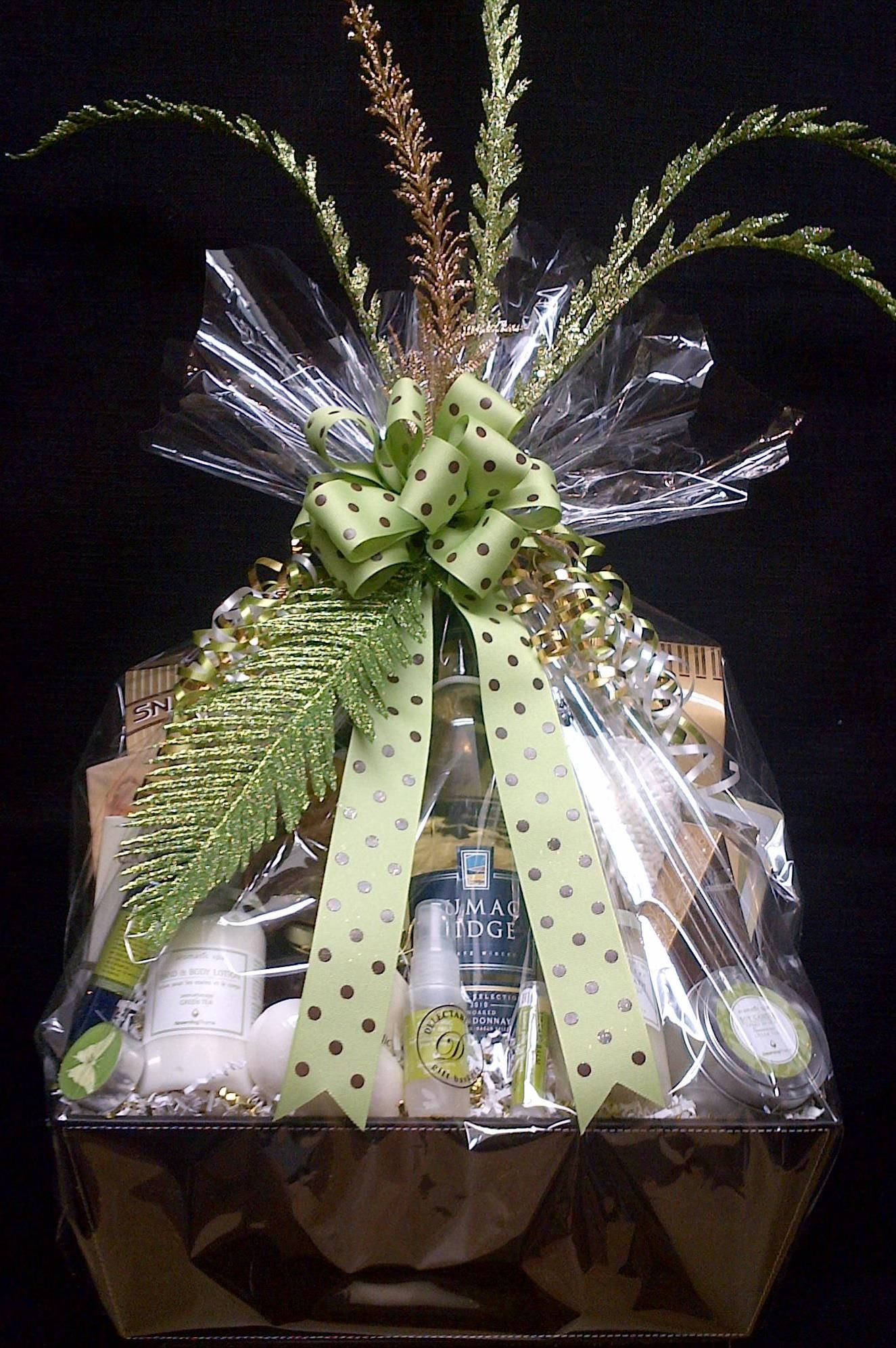 How To Wrap A Wedding Gift Basket : Custom Spa and Wine gift basket Thats a Wrap! Pinterest