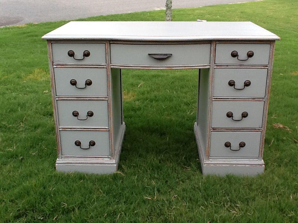 Grey floating desk makeover furniture makeover before for Before and after furniture makeovers