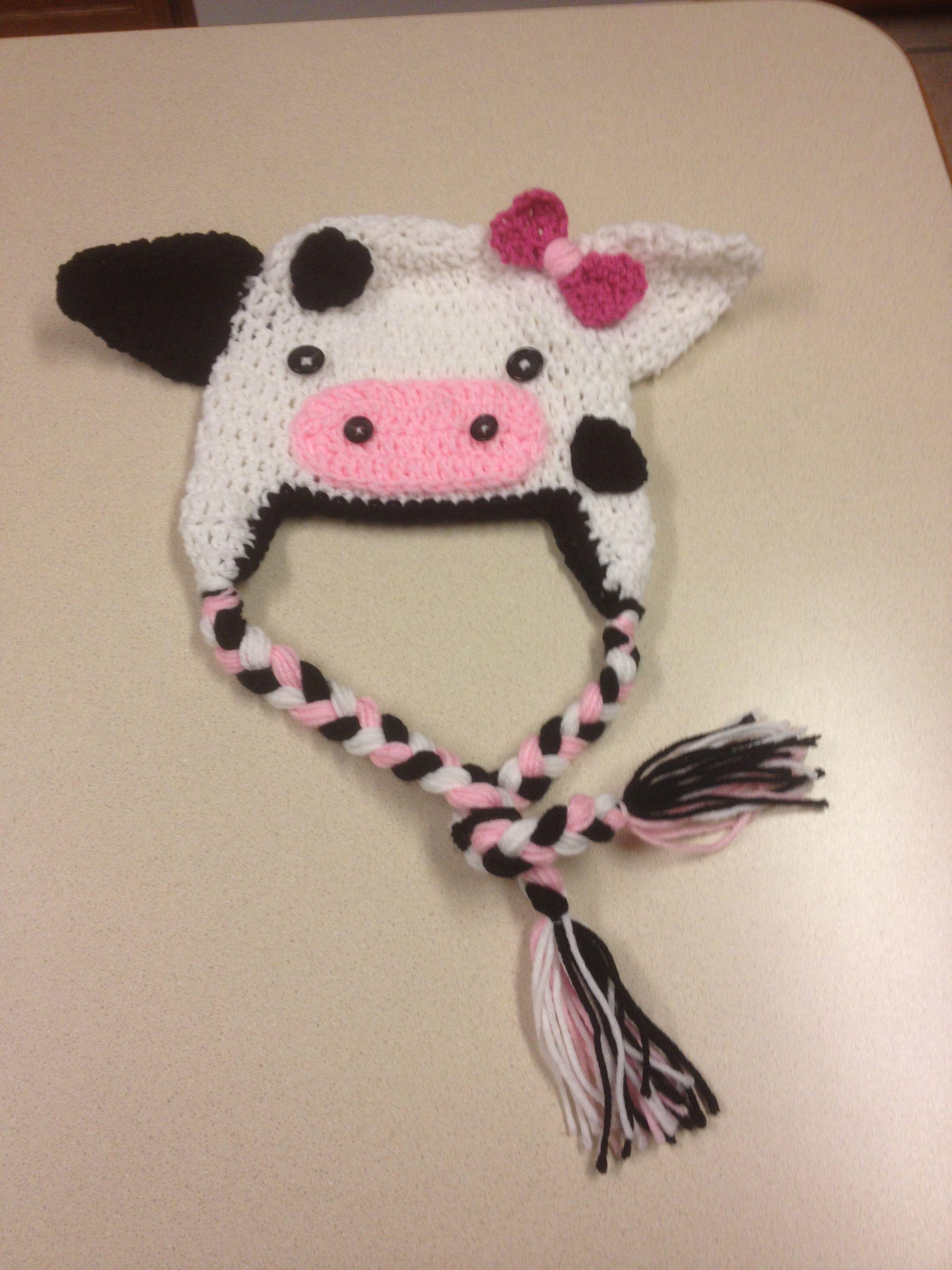 Crochet cow hat! Gorros de bebe 2 Pinterest