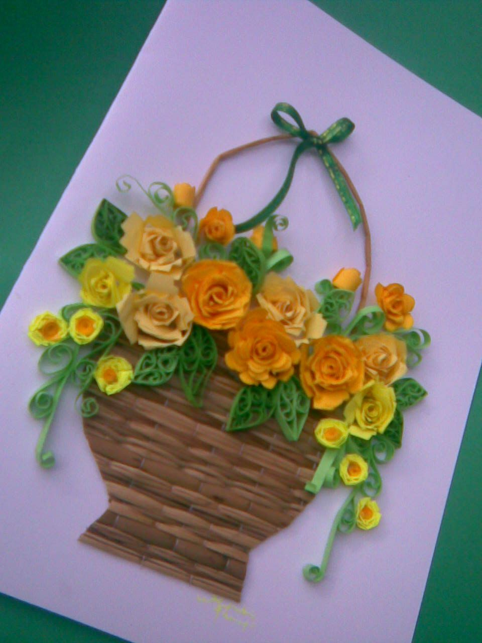 How To Make A Quilling Flower Basket : My paper quilling flower baskets greeting