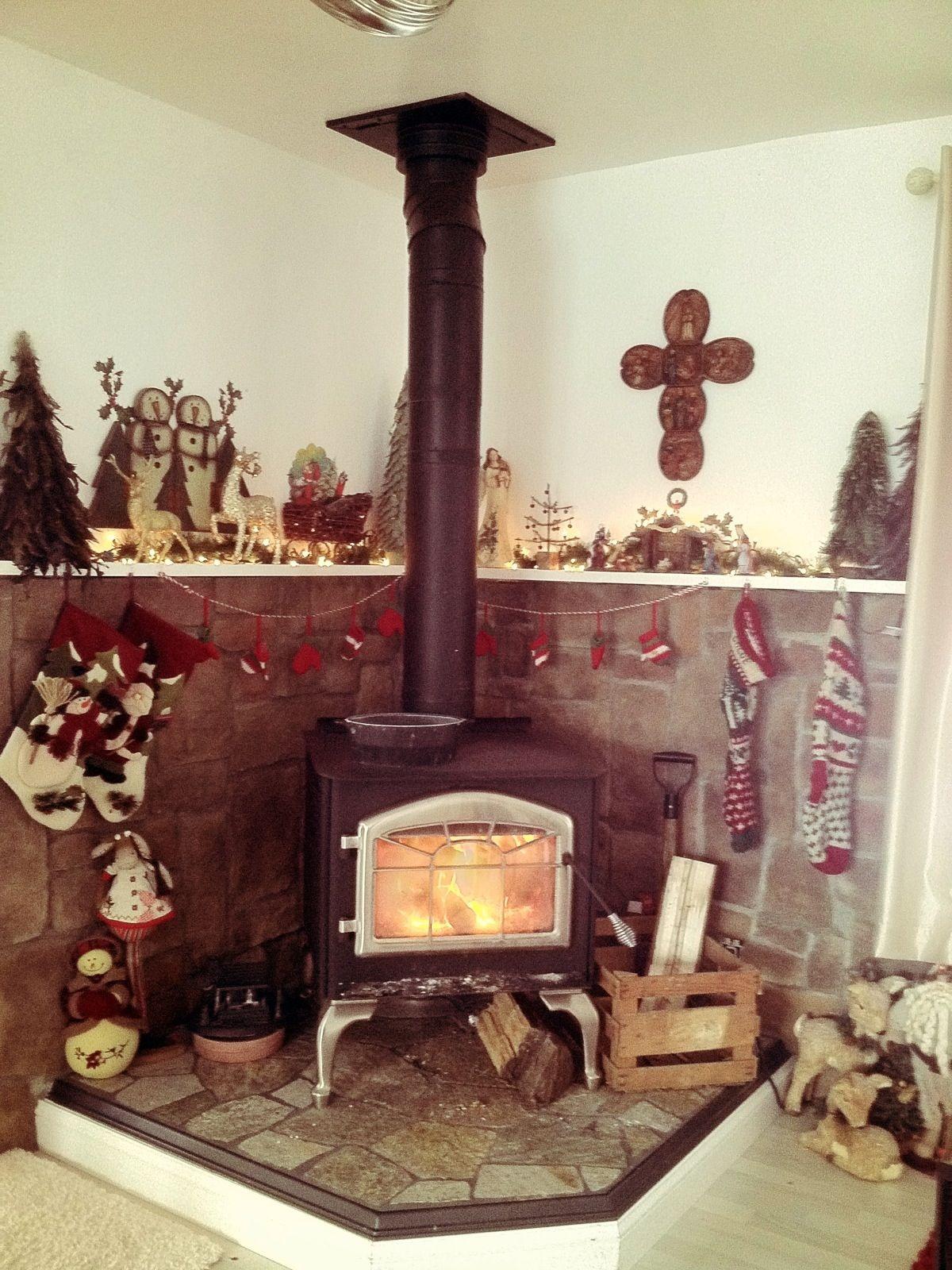 christmas wood stove decorating ideas pinterest