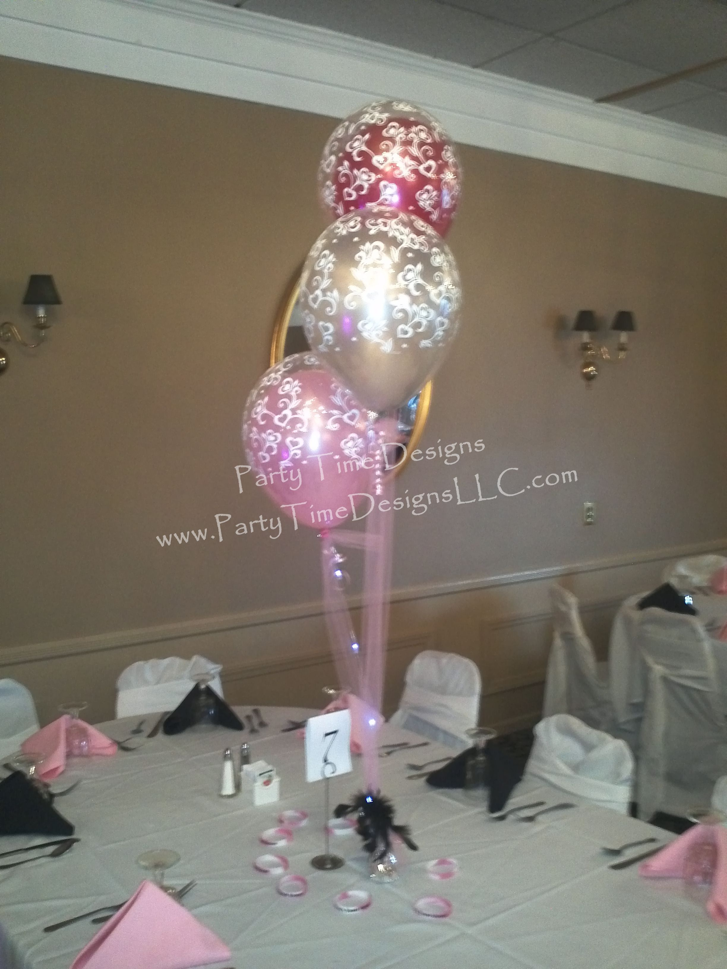Double balloon centerpieces sweet 16 pinterest for Balloon decoration ideas for sweet 16