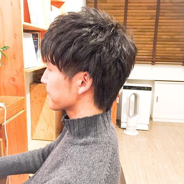 ショート パーマ 黒髪 刈り上げ