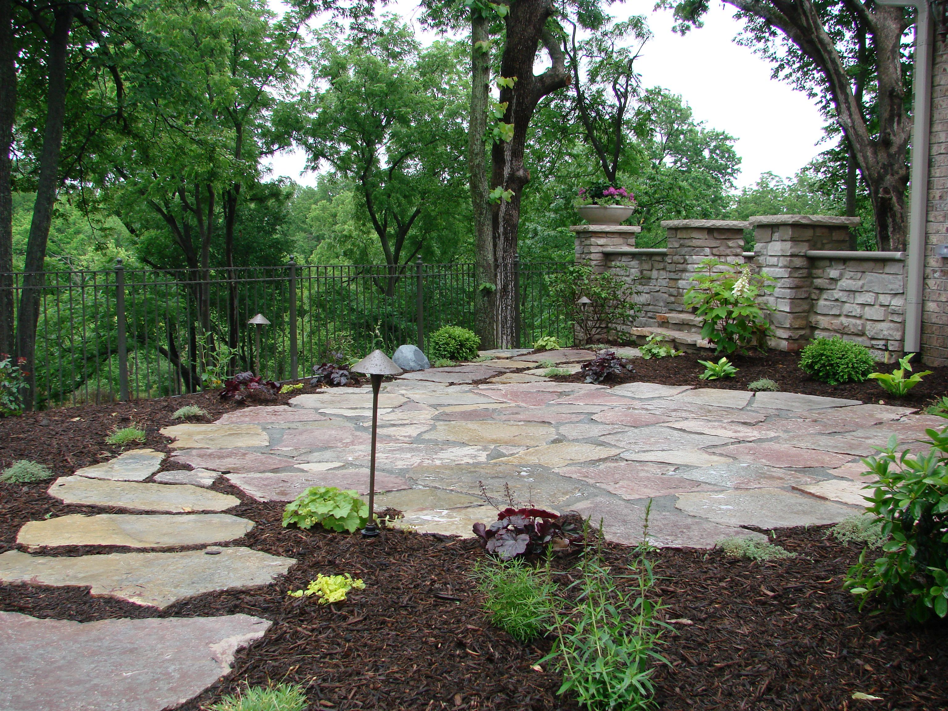 This flagstone patio landscaping patio pinterest for Patio landscaping ideas