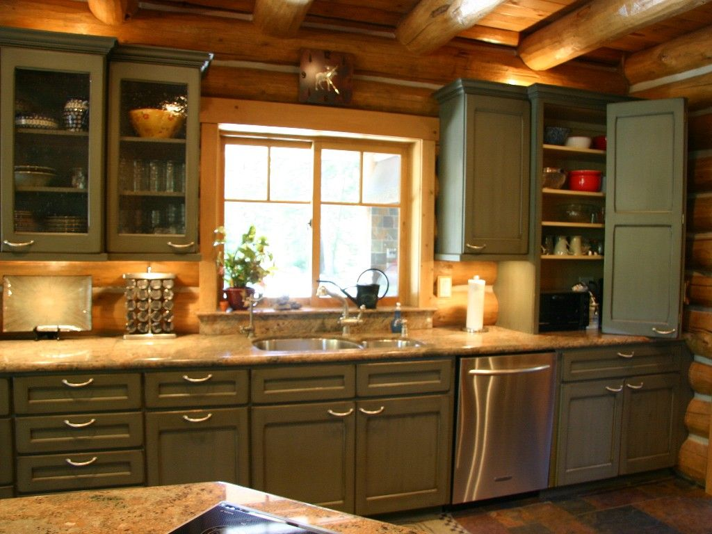 Green cabinets cabins country and mountain homes for House kitchen cabinets
