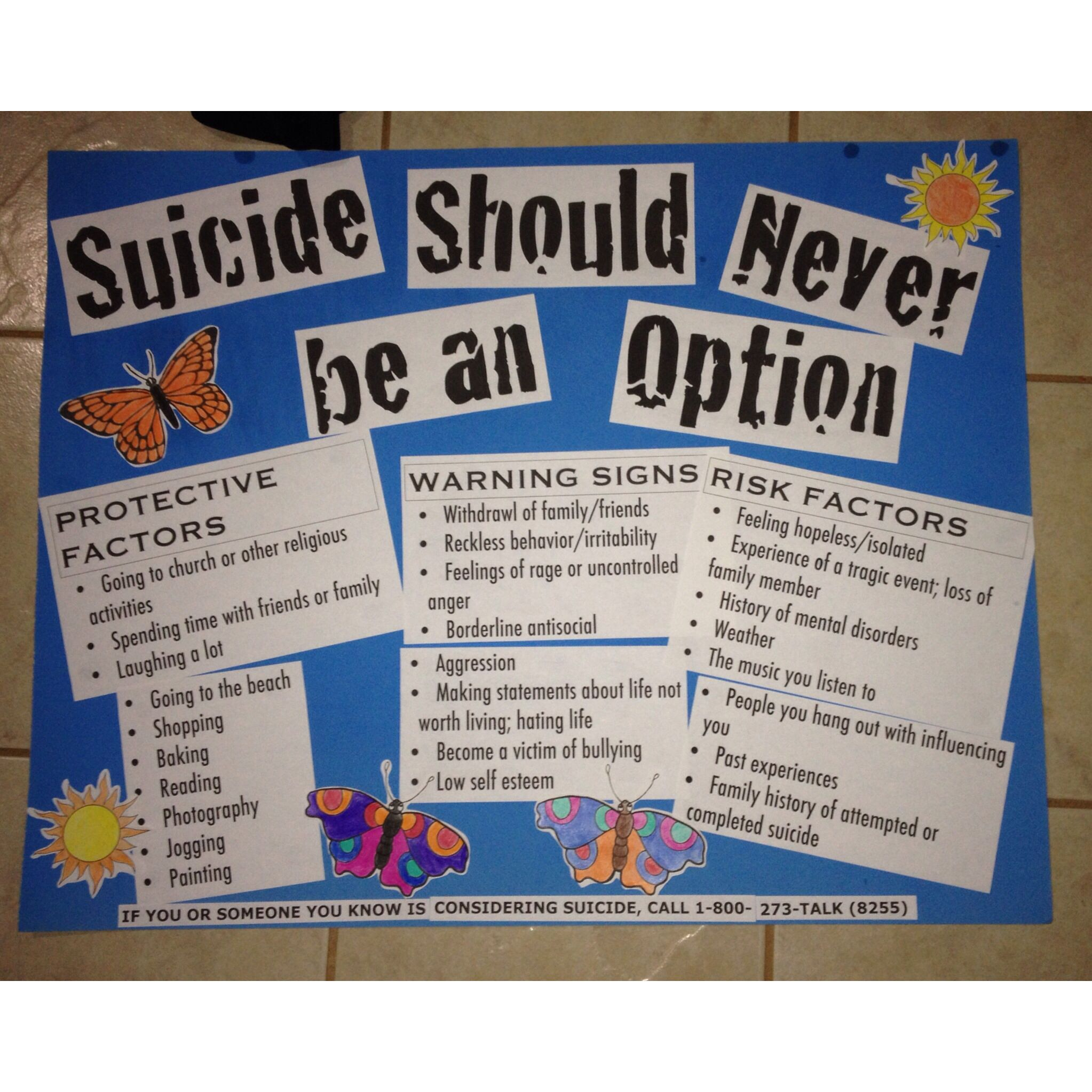 Suicide Prevention Project | Work Ideas | Pinterest