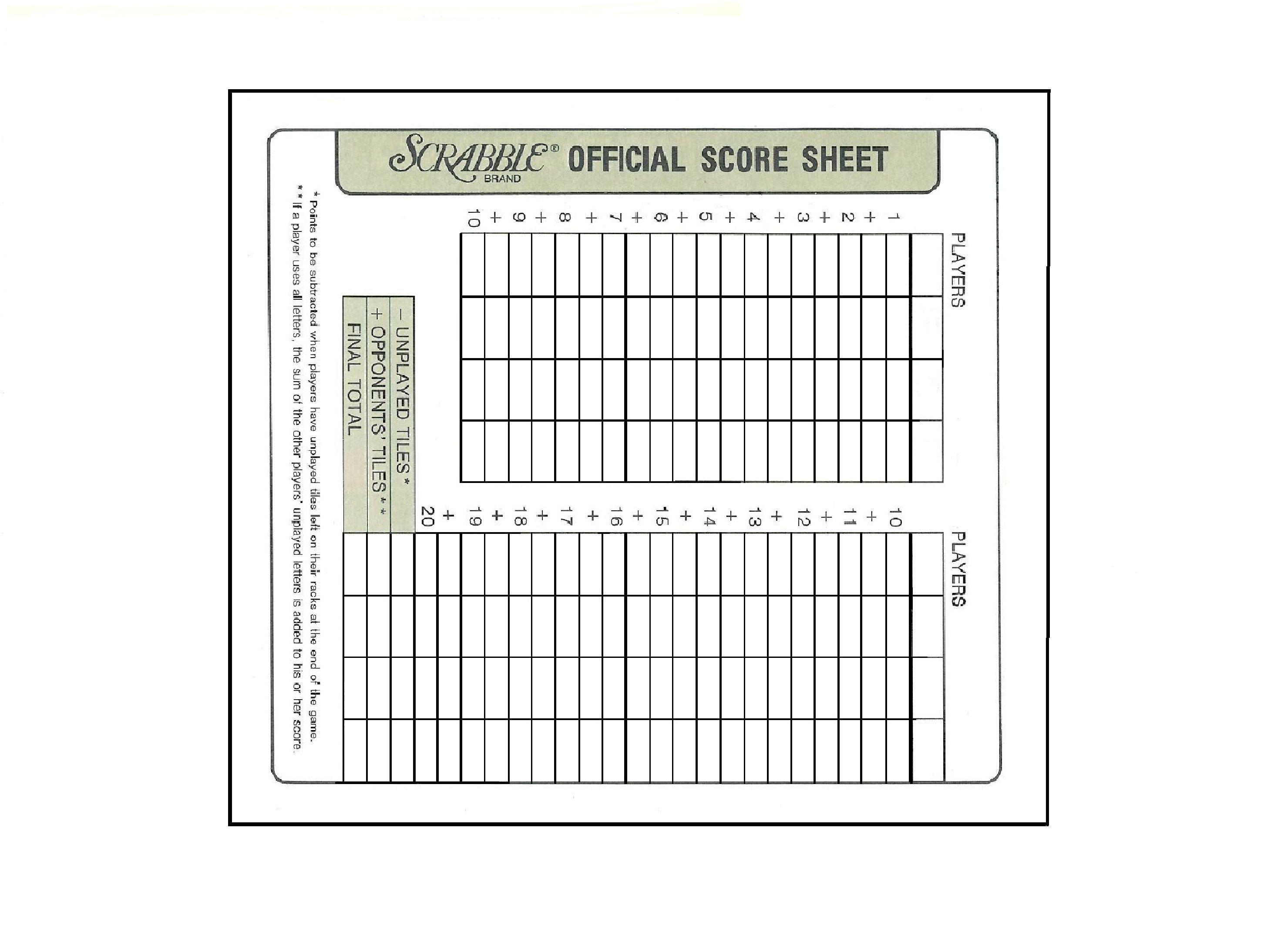 printable scrabble score sheet crafts paper pinterest