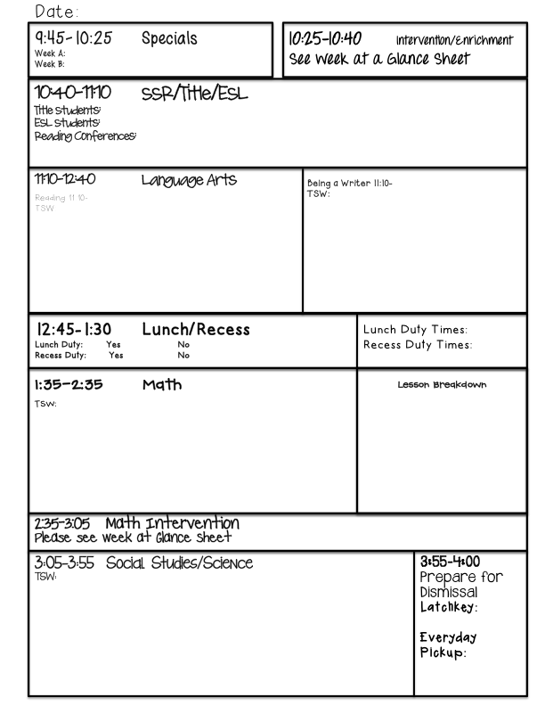 lesson plan template word daily lesson plan template word. usq ...