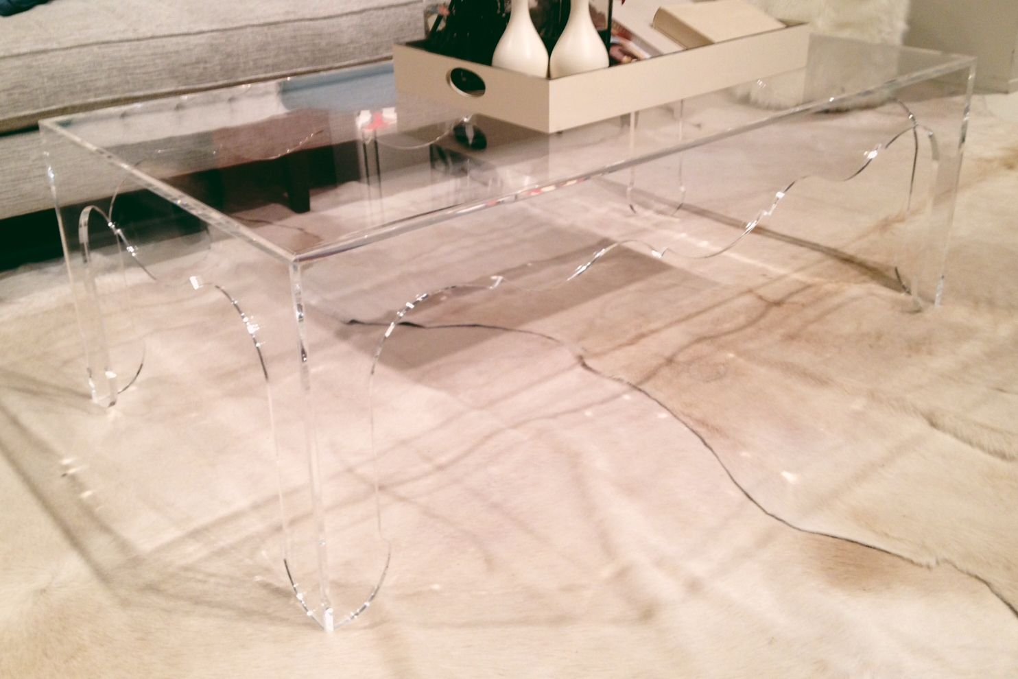 lucite table by bernhardt
