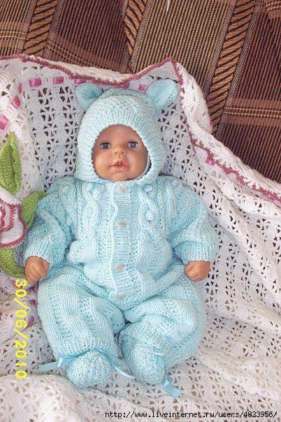 Вязание спицами на новорожденных девочек комбинезон 82