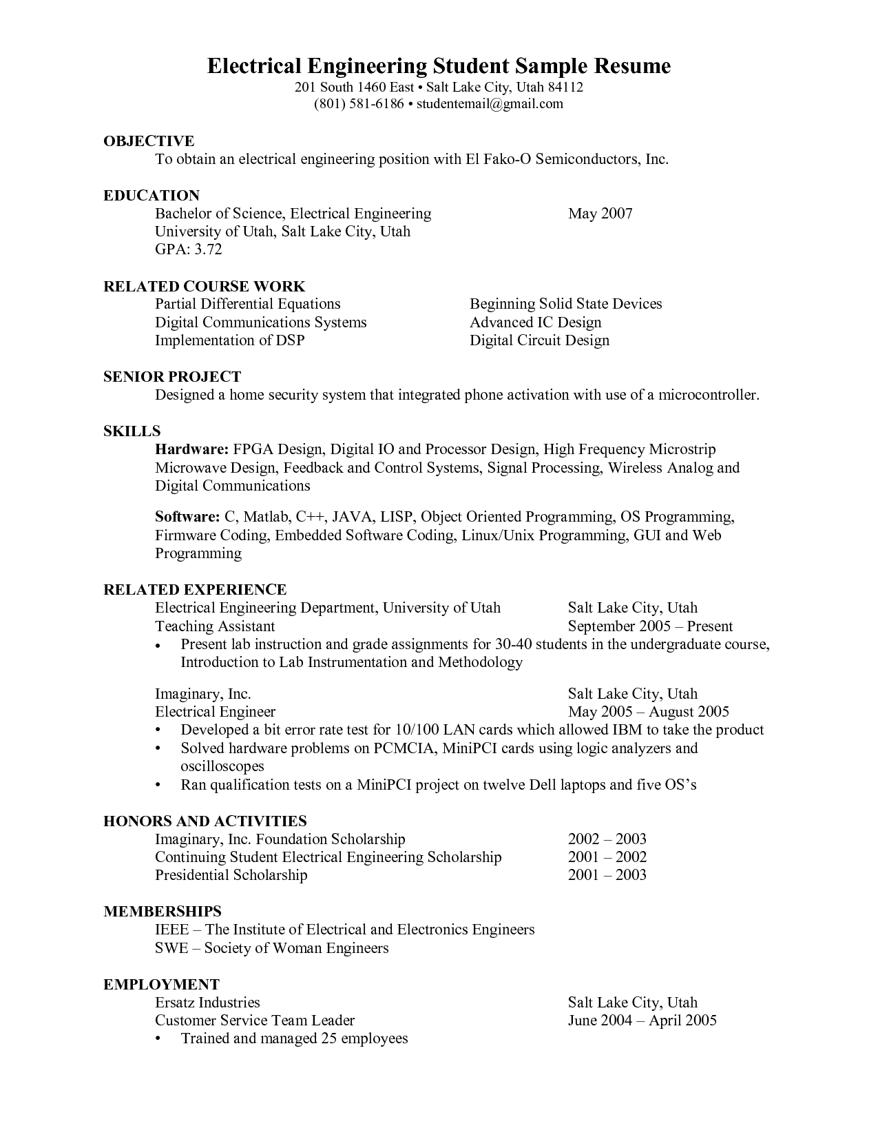 Resume For Internship For Engineering Students