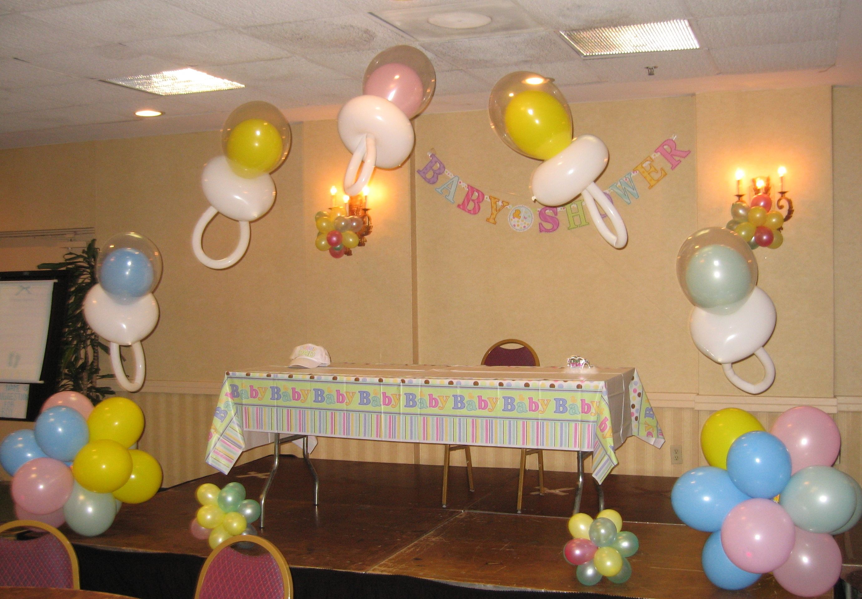 Baby shower balloon decor balloon decor pinterest for Baby shower decoration ideas with balloons
