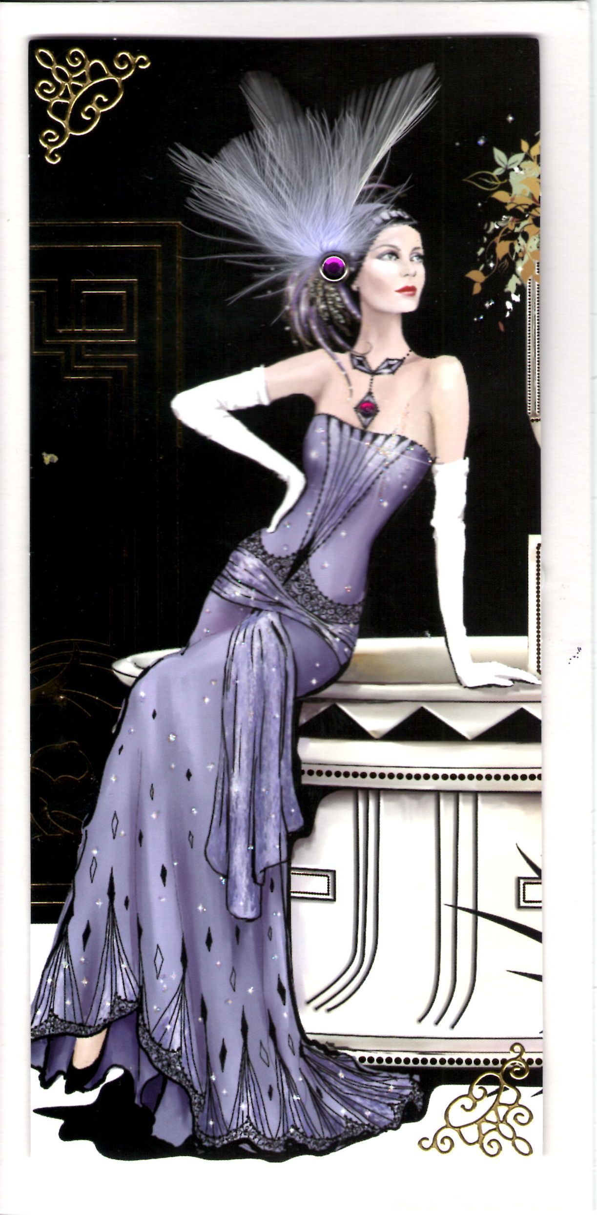 Art deco card any occasion i heard it 39 s your birthday for Art deco artists list